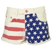 Flag Printed Hotpants - Topshop USA