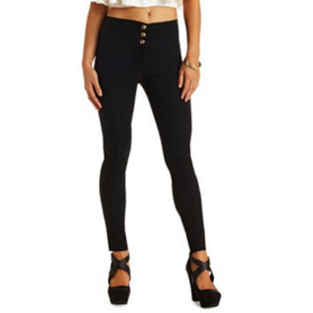 STRETCHY HIGH-WAISTED SKINNY PANTS