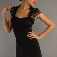 Short Black Cap Sleeve Party Dress Wedding guest dress - Basadress.com