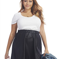 Faux Leather Skater Skirt | Wet Seal+