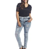 Cello High Waisted Destroyed Jeans | Wet Seal