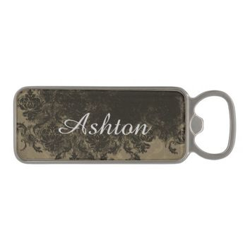 Chocolate Damask Personalized Bottle Opener