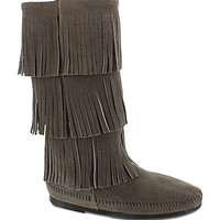 Minnetonka Calf Hi 3-Layer Fringe Boots | Dillards.com