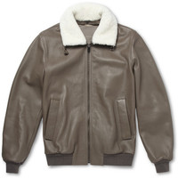 Faconnable - Shearling-Trimmed Leather Bomber Jacket | MR PORTER