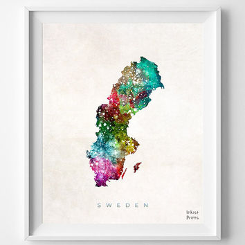 Sweden Map, Watercolor, Swedish, Europe, Home Town, Poster, Art, Gift, Nursery, Living Room, Baby, Painting, Bedroom, world map [NO 466]