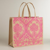 Pink Print Jute Tote Bag - World Market