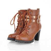 Women fashion graceful comfortable boots lace-up buckles Dr. Martens Z-HR-H7-Lovelyshoes.net