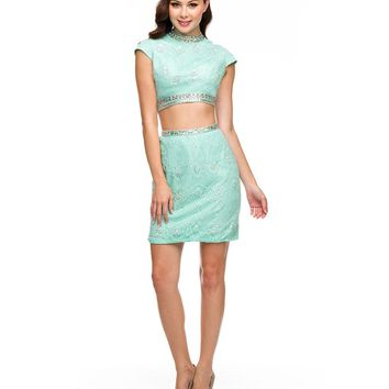 Preorder - Mint Rhinestone & Lace Cap Sleeve Two Piece Dress Homecoming 2014