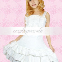 Lolita Costumes White Sleeveless Bow Ruffles Cotton School Lolita Dress [T110343] - $82.00