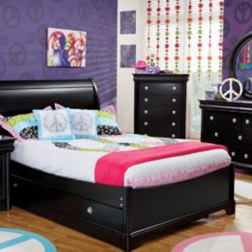 Oberon Black 3 Pc Full Sleigh Bed