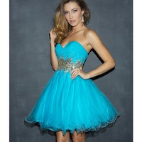 Night Moves by Allure 2013 Prom Dresses - Turquoise Tulle & Beaded Waistline Sweetheart Prom Dress