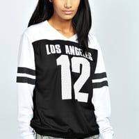 Alena Los Angeles V Neck Baseball Sweat