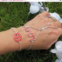 Sized Peace, Love, Cross, Bracelet Ring, Hand Chain, Slave Bracelet, Ring Bracelet, Bracelet, Sized, Custom, God Bless