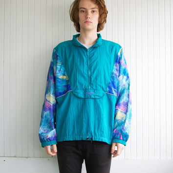 90's Reebok Teal Abstract Windbreaker