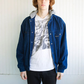 80's Member's Only Denim Hooded Jacket