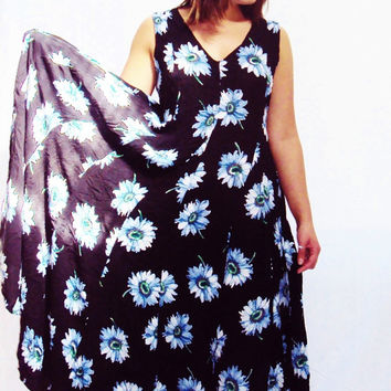 90s Floral Maxi Dress DAISY print full sweep Gauzy fabric vintage grunge boho s, m, l