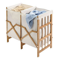 Bamboo 2-Compartment Laundry Hamper | Laundry| Bed & Bath | World Market