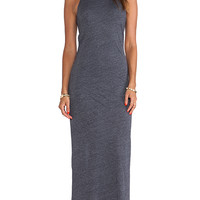 MONROW Ash Heather Jersey Bandeau Maxi Dress in Navy