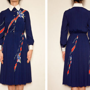 1970's Original Vintage Japanese High Collar Winter/ Autumn dress