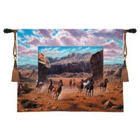 Fine Art Tapestries Running Horse Tapestry - Bo Newell - 3360-WH - Decor