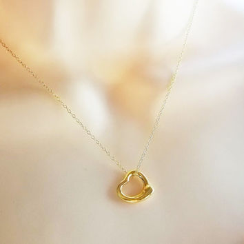 Gold Heart Necklace, dainty vermeil heart floating necklace, sterling silver floating necklace, sterling hearth floating necklace
