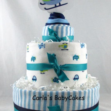 Boy Diaper Cake,Blue Diaper Cake, Baby Diaper Cake, New Mom Gift, Baby Shower Decoration, New Baby Gift,Baby Shower Gift,Burp Cloth Cupcake