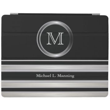Elegant Monogram Silver Brush and Black