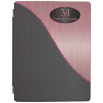 Elegant Monogram Ruby Brush and Black