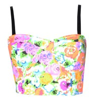 Womens Bright Floral Zip/3 Band Back Bralet Bra Top (Sty)