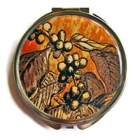 Coffee Branch Compact Mirror Pocket Mirror by UniqueArtPendants