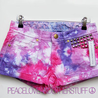 Summer Low Rise Pink &amp; Purple Tie Dye Shorts by peaceloveandotherstuff
