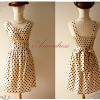 Amor Vintage Inspired Polka Dot Black Dot Cream Beige by Amordress