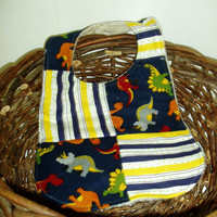 Dinosaurs and Stripes Baby Bib by BrennysBibbies on Etsy