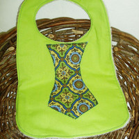 Lime Green Tie Bib by BrennysBibbies on Etsy