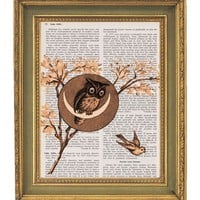 Owl Tree Vintage Dictionary Print 8x10 by papergangsterprints
