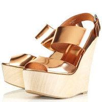 WOWZA Metallic Wood Heel Wedges - View All  - Shoes  - Topshop