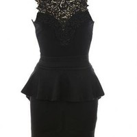 Black Little Black Dress - Lace Neck Peplum Dress | UsTrendy