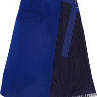 Sacai | Wool-felt and pleated chiffon wrap skirt | NET-A-PORTER.COM