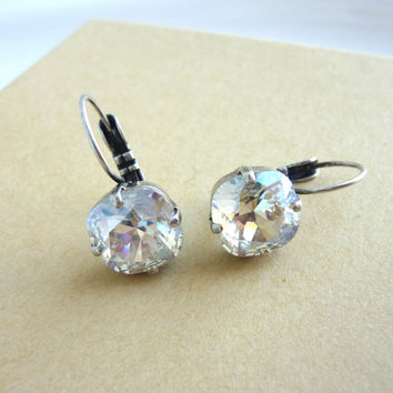 Swarovski crystal earrings, crystal moonlight, incredible shine, square cut, drop lever-back, 10mm, Siggy