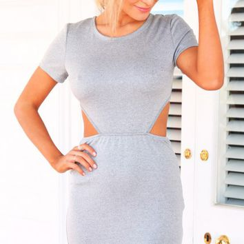 FORWARD THINKER DRESS - grey jersey fabric dress
