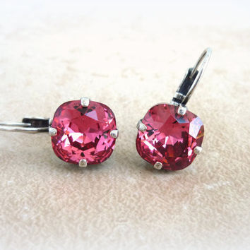 Swarovski crystal earrings, cushion cut drop lever-backs, pink earrings, designer inspired by Siggy