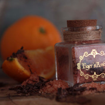 ORANGE & CHOCOLATE Flavored Sugar -Tiger's Amber in a Small Apothecary Jar