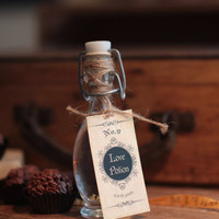 Love Potion Favor Ceremony  Gift & Keepsake Glass Bottle/Vial with Tag  and Golden Flakes Vintage Personalized Tag