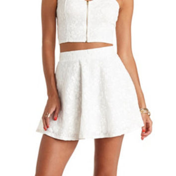 DAISY-CROCHETED HIGH-WAISTED SKATER SKIRT