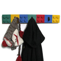 $26.00 Unique Lego Style Wall Coat Rack  3 Hooks  by HappywoodGoods