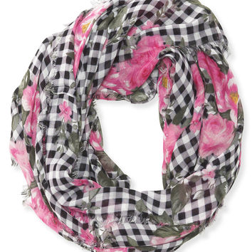 Checkered Rose Infinity Scarf