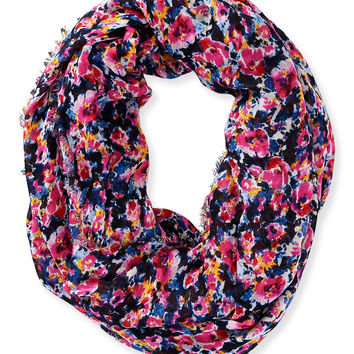 Fringed Floral Infinity Scarf