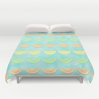 Citrus Smiles Stripes Duvet Cover by Lisa Argyropoulos | Society6