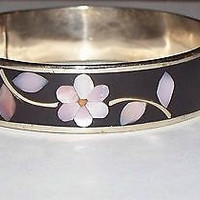 Vintage Alpaca Silver Onyx Abalone Mother Pearl Flower  Bangle Bracelet Mexico