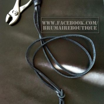 Burnished Silver Plier Leather Necklace from Brumaire Boutique